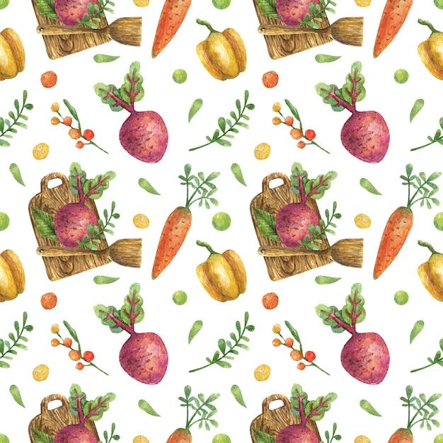 木製ヘラで木製のまな板で野菜(ニンジン、ビート、ピーマン)のシームレスな水彩パターン。健康的な栄養。菜食主義。 Premium写真