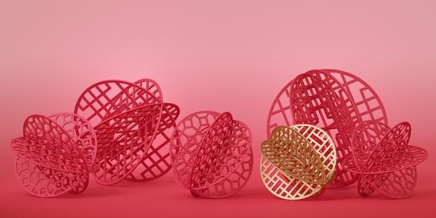 赤と金の中国紙がピンクの表面にボール状にカットされています。 Premium写真