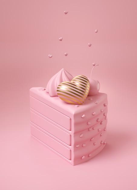 豪華なストライプゴールドハートとピンクのチェリーとピンクのケーキ Premium写真