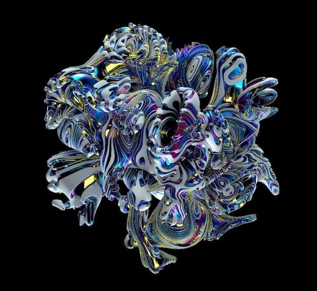 有機的な形状の立方体の形でシュールな彫刻の抽象芸術作品 Premium写真