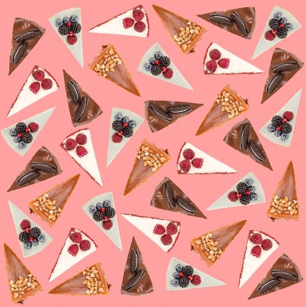 ピンクの上に分離されたさまざまなパイのパターン 無料写真