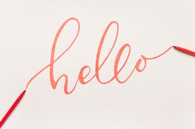 オレンジ色のマーカーで手書きの挨拶フレーズ 無料写真