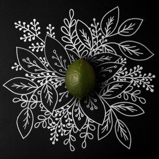 アウトライン花の手描きのライム 無料写真