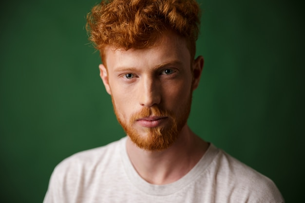 ひげと赤毛の若い男のクローズアップの肖像画 無料写真