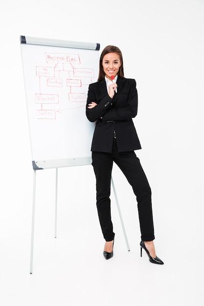 Счастливая милая коммерсантка около бизнес-плана и показывать его Бесплатные Фотографии