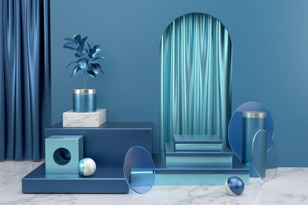 製品のプレゼンテーションの表彰台を表示します。抽象的な幾何学的な背景。光沢のある青と大理石のマテリアルを使用した抽象的な幾何学的オブジェクトの背景。 Premium写真
