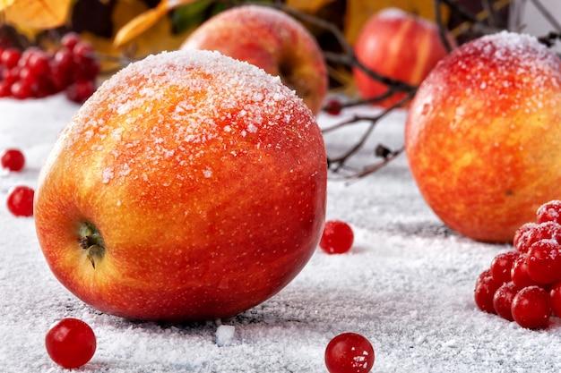 粉砂糖をまぶした縞模様のリンゴ。皿は雪の中でリンゴをシミュレートします Premium写真