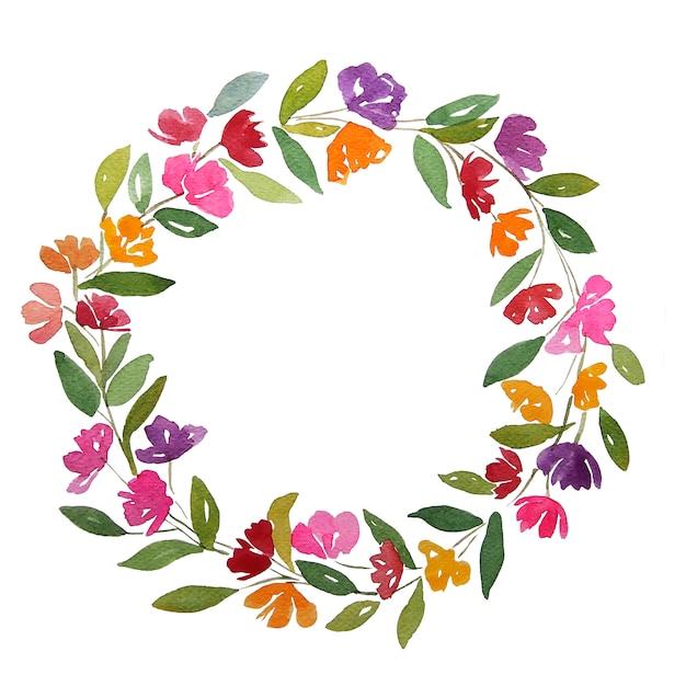 オレンジ赤ピンク紫紫の花の水彩画は、クリッピングパスとコピースペースの花輪をサークルします。緑の葉で飾られた花輪。 Premium写真