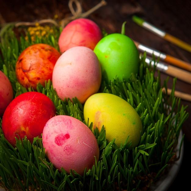 Вид сбоку крашеные яйца с семени в белой тарелке Бесплатные Фотографии