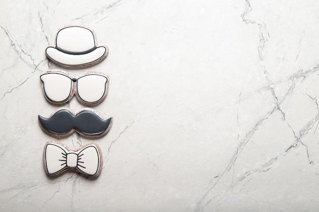 Счастливый день отца концепции. печенье. место для текста Premium Фотографии