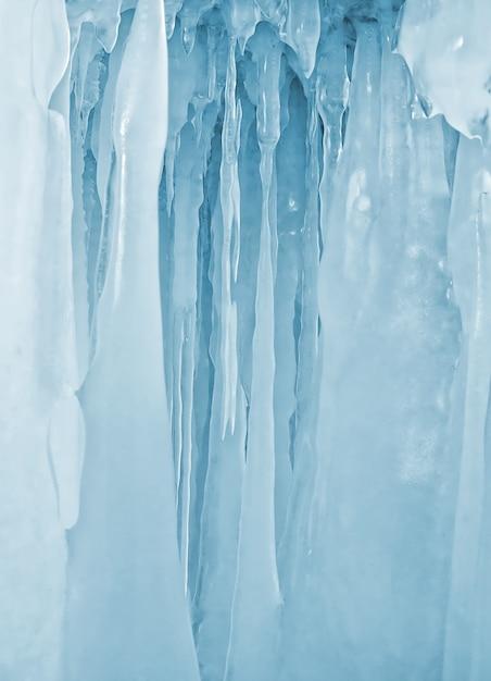 冬のバイカル湖のつらら氷壁 Premium写真