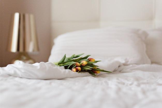 花束、チューリップ、朝、優しさ、インテリア、ギフト Premium写真