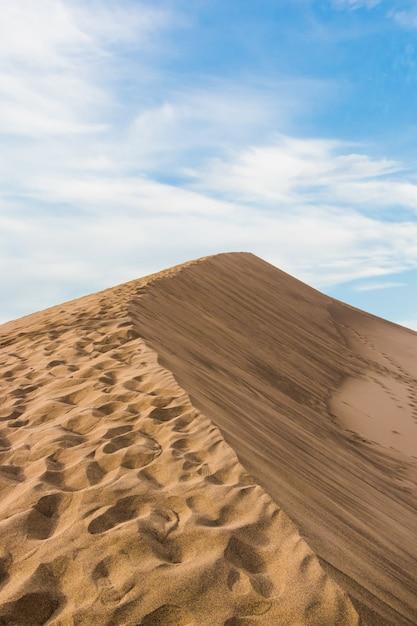 Вертикальный крупным планом выстрел из бежевой песчаной пустыни под голубым небом Бесплатные Фотографии