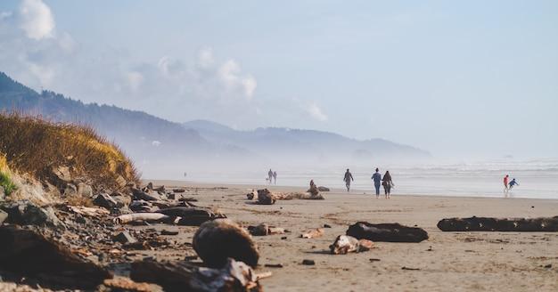 昼間に遠くに山々とビーチの海岸を歩く人々のワイドショット 無料写真