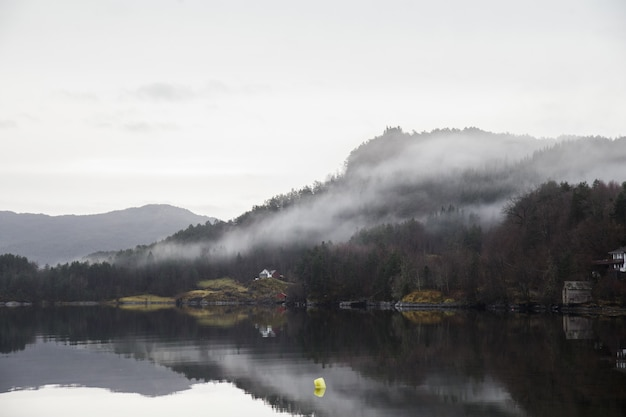 森に覆われた山々と水面に映る霧に囲まれた湖の風景 無料写真