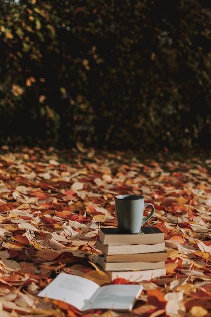 Вертикальный снимок нескольких книг и чашку кофе на земле, покрытой осенними листьями Бесплатные Фотографии