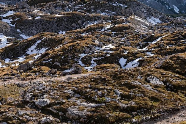 イタリアアルプスの土地のテクスチャのハイアングルショット 無料写真