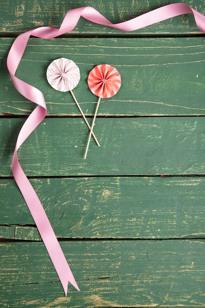 リボン付き装飾傘 無料写真