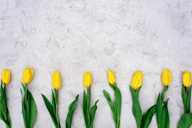 黄色の春のチューリップの花の行が横たわっていた。 Premium写真
