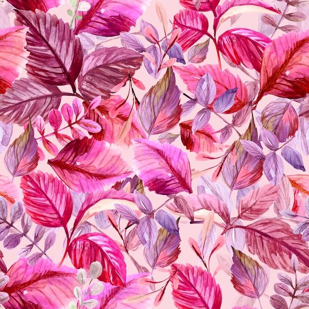 Бесшовный узор с листьями. акварельные иллюстрации Premium Фотографии