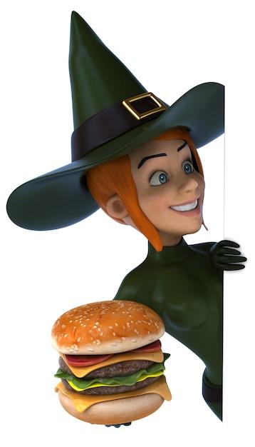 ハンバーガーを持つセクシーな魔女女性 Premium写真