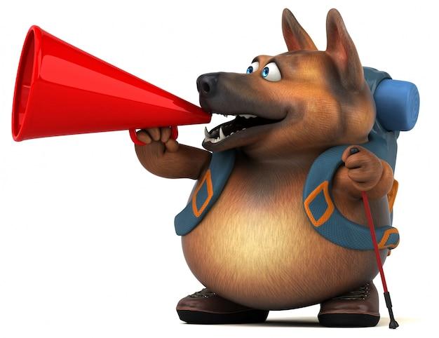 楽しいバックパッカージャーマンシェパード犬の漫画のキャラクター Premium写真