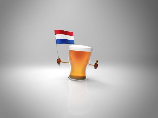 オランダの旗を握る楽しいイラスト入りビールのキャラクター Premium写真