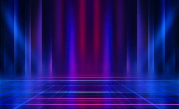 空の暗い抽象的な背景。空のショーシーンの背景。空のコンサートステージでのネオンとネオンの輝き。舗装上の光の反射。 Premium写真