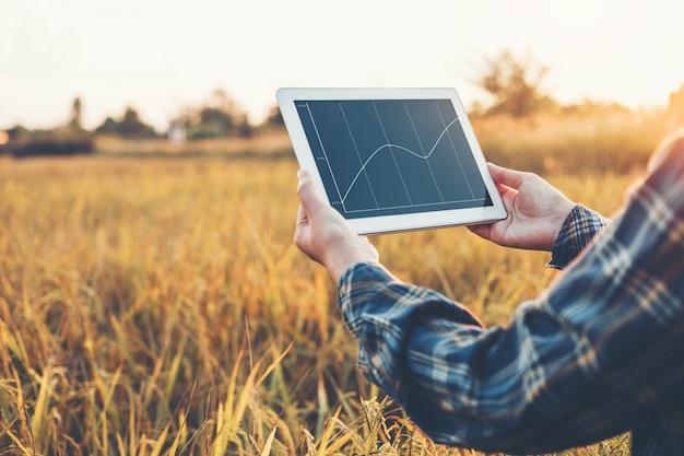 スマート農業農業技術と有機農業研究を使用している女性 Premium写真