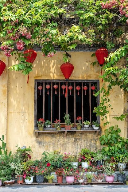 Вазоны с цветами, желтой стеной и окном с красными китайскими фонариками Premium Фотографии