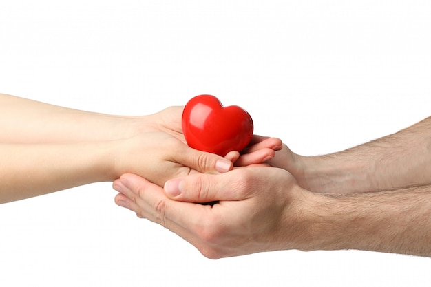Женские и мужские руки держат сердце, изолированное на белом пространстве Premium Фотографии