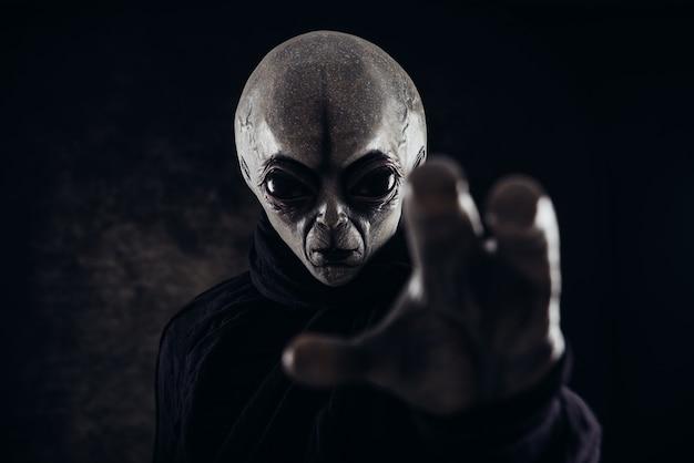 エイリアンの生き物は人間へのメッセージを持っています。他の惑星のポートレートシリーズからの灰色の親切なヒューマノイド。 Premium写真