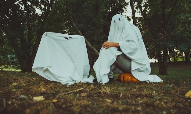 父と息子の庭で幽霊を再生、庭、ハロウィーンについての概念的な写真 Premium写真