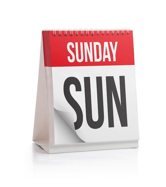 週カレンダー、日曜日ページ Premium写真