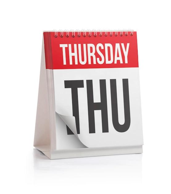 週カレンダー、木曜日ページ Premium写真