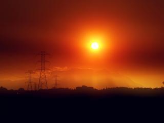 火災の夕日 無料写真