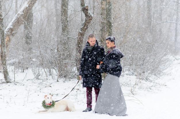 Зимняя прогулка в метель с собакой Premium Фотографии