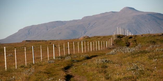 乾いた牧草地を通って山にまで消えていくワイヤーフェンス Premium写真