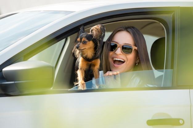 女性と車の犬 Premium写真