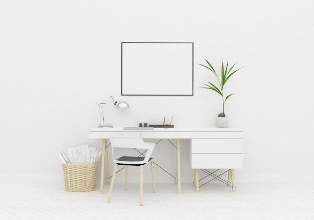 Домашняя рабочая зона в скандинавской комнате с горизонтальной рамкой Premium Фотографии