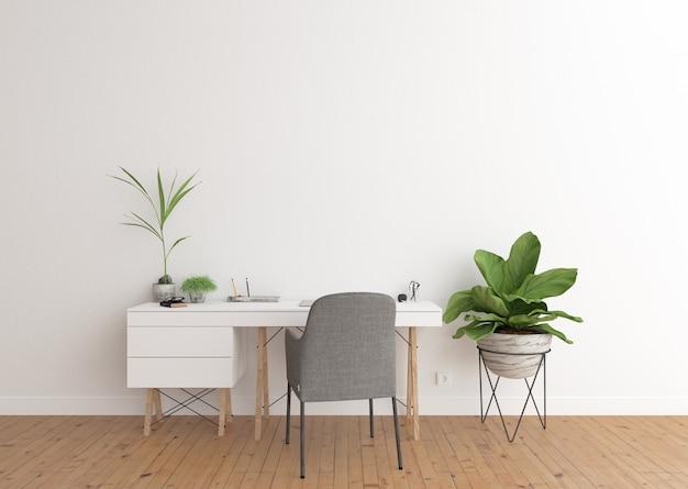 白い机とホームオフィスのインテリア Premium写真