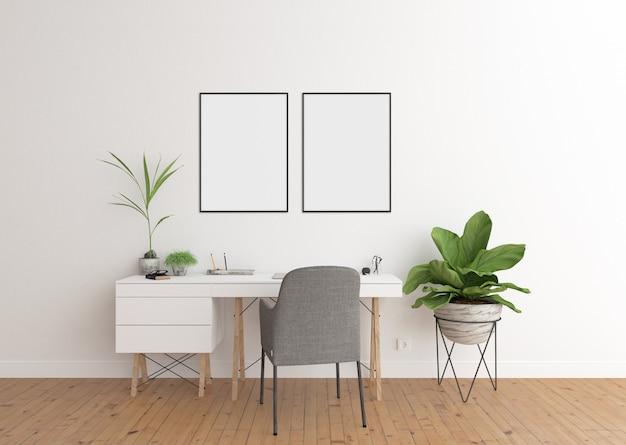 白いインテリア、二重フレームとフレームのホームオフィス Premium写真