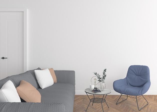 空白の壁とモダンなリビングルーム Premium写真