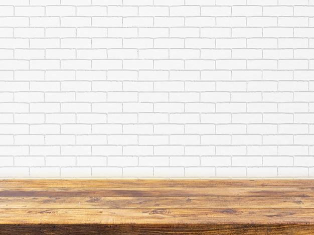 白いレンガの壁に最小限の木製テーブルトップ Premium写真