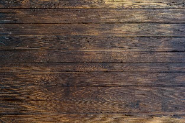 コピースペースを持つ古い木製素材板オーバーヘッド木製壁テクスチャ Premium写真