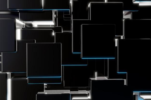 ブラックキューブ粒子背景 Premium写真