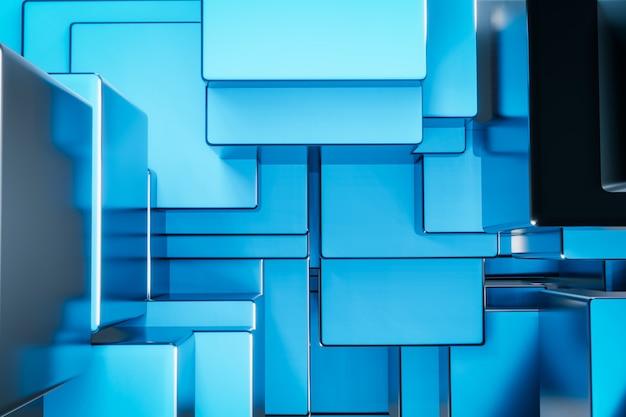 青い金属キューブ建設ブロックの背景 Premium写真