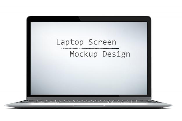 Современный компьютерный ноутбук, изолированных на белом фоне с зеленым экраном для макета с клипа путь Premium Фотографии