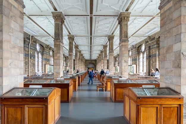 Вид на зал минералов музея естественной истории лондона Premium Фотографии