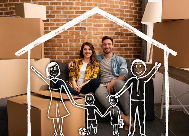 Счастливая пара хочет иметь семью в новом доме. концепция успеха, перемен, позитива и будущего Premium Фотографии